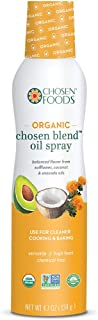 Chosen Foods Organic Chosen Blend Oil Spray 4.7 oz., Non-GMO, 490° F Smoke Point, Propellant-Free, Air Pressure Only for High-Heat Cooking, Baking and Frying