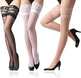 a99f8765e Lace Thigh High Sheer Stockings - Shimmery Hosiery Tights Nylon Pantyhose  for Women