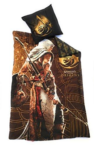 Assassin's Creed Bettwäsche, wendbar, 140 x 200 cm + Kopfkissenbezug 63 x 63 cm, Mikrofaser, Oeko-Tex
