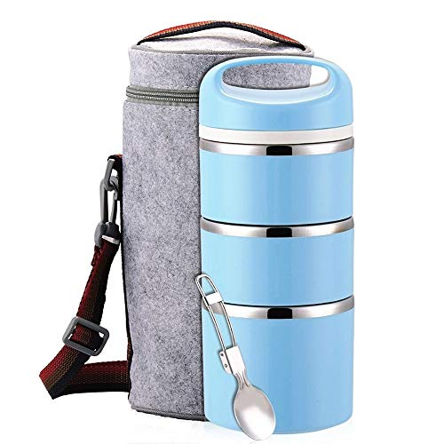 Lille Home Stackable Stainless Steel Thermal Compartment Lunch/Snack Box, 3-Tier Insulated Bento/Food Container with Lunch Bag & Foldable Spoon, Smart Diet, Weight Control (blue)