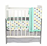 Bacati Elephants Unisex 3 Piece Portable Crib Bedding Set 100 Percent Cotton