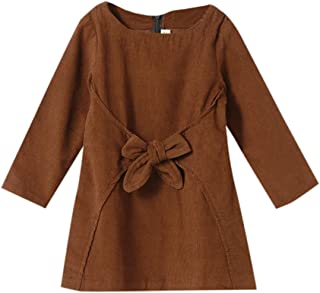 Hopscotch Piccolo Baby Girls Cotton Stylish Dress in Brown Color