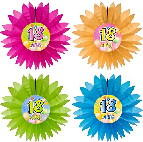 Visiodirect Lot de 4 Eventails Anniversaire 18 Ans Pop - 50 cm