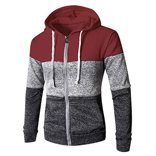 DNOQN Baumwolle Pullover Herren Kapuzenpullover Patchwork Winter Lässige Langarm Schlanke Tasche Fit Hoodies Bluse Oben