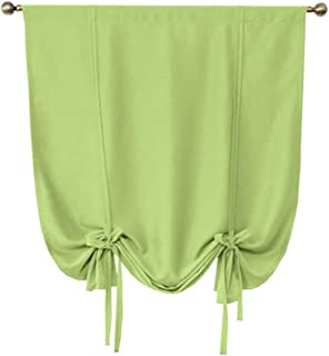 ZebraSmile Upgraded Tie Up Blackout Balloon Curtains Bedroom Tiebacks Black Out Shades for Living Room Small Windows Rod Pocket Roman Curtain, Green, 24 X47(H) in