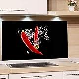 GRAZDesign Spritzschutz Glas für Küche, Herd Bild-Motiv Chili Rot Schwarz Küchenrückwand Glas Küchenspiegel Glasrückwand (80x50cm)