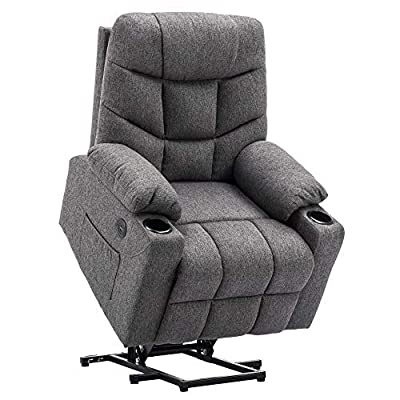 Mcombo Electric Power Lift Recliner Chair Sofa for Elderly, 3 Positions, 2 Side Pockets and Cup Holders, USB Ports, Fabric 7286