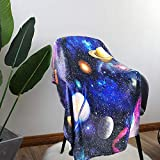ZUMAS Solar System Throw Blankets for Kids Bedroom Universe Colorful Print Lightweight Super Soft Cozy Fuzzy Warm Flannel Fleece Toddler Blanket Gift for Kids Boys Girls Outer Space Galaxy 40x50 Inch