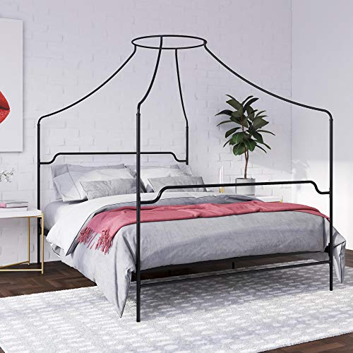 Novogratz Camilla Metal Canopy, Queen Size Frame, Black Bed