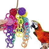 SIFDNRGNFN Juguetes Accesorios Pet Bird Toys Colorful Rattan Balls Bols Strings Parrot Bite Mastic Toys Accesorios de Aves Suministros para Agapornis (Color : Random)
