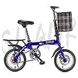 Bicicleta plegable Engranajes Tráfico Sistema plegable Estudiante de bicicletas Single Disc Brake velocidad compacto para adultos Luz completamente montado 14 pulgadas 16 pulgadas 20 pulgadas,B,16inch