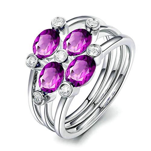 Bishilin Anillos de Promesa Plata de Ley S925 para Novia Ajuste Cómodo Forma de Flor Púrpura Oval Cristal Piedra del Zodíaco Anillo de Alianza de Boda de Compromiso de Aniversario Plata Talla: 6,75