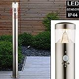 LED Außen Steh Lampe Edelstahl Bewegungsmelder Garten Hof Einfahrt Säulen Design Stand Leuchte 100 cm