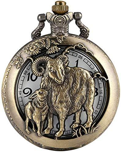 Reloj bolsillo clásico con caja bronce con patrón oveja, prácticos relojes bolsillo con esfera números árabes, reloj colgante cadena áspera duradera regalos para Hombres Mujeres Niños Regalo de Navid