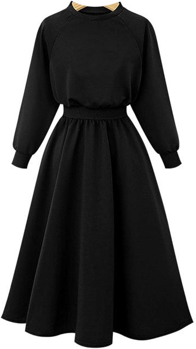 Uaneo Women's Slim Solid Crewneck Elastic Waist Pleated Long Maxi Dress Sweatshirt
