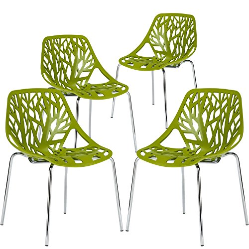 Poly and Bark Birds Nest Dining Side Chair in Green (Set of 4)