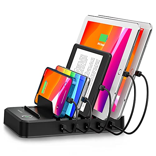 Charging Station for Multiple Devices 5 Ports with 6 Mixed Charging Cables Multi USB Charger Station Organizer for Cell Phones Tablets Tab Electronics Tech Gadget