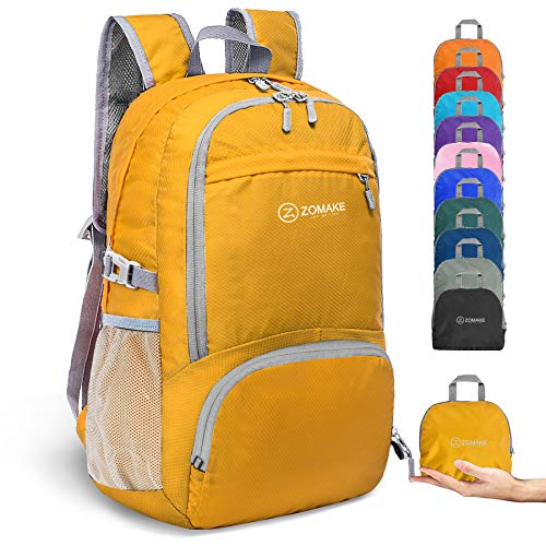 ZOMAKE 30L Lightweight Packable Backpack Water Resistant Hiking Daypack,Small Travel Backpack Foldable Camping Outdoor Bag (Yellow)