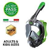 SEAC Unica, Maschera Subacquea Integrale per Snorkeling Full Face 180° con Borsa per Bambini e...