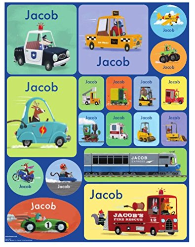 Stickers for Children, Kids, Boys, Girls, Personalized Name Labels Construction