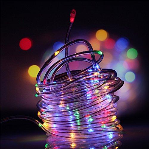 Kriogor Guirnaldas de Luces Solar Luminosas Cadena Luces Impermeable 12M 100 LEDs Para Navidad Interior y Exterior Jardín(Colorear)