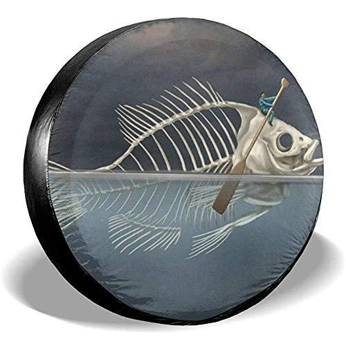 N/A Copertura per Pneumatici di Ricambio Fish Skeleton Waterproof UV Sun Universal Fit