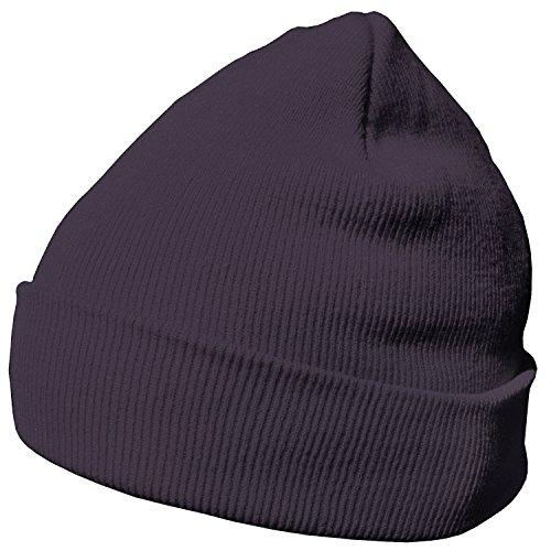 DonDon Wintermütze Mütze warm klassisches Design modern und weich grau lila