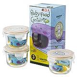 KTops 3PCS Compartment Lunch Box Kids Glas Lebensmittel Lagerbehälter mit Deckel, Glas klar