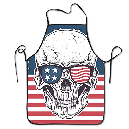 N\A Cráneo Americano con Gafas de Sol en la Bandera de EE. UU, Impermeable, Duradero, Personalizado, Delantal, Cocina, Delantal, Babero, Delantal para Mujeres, Hombres, Adultos, Chef