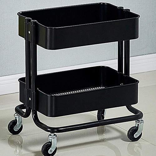 2-Etagen Badezimmer Regal auf Rollen,Schwarz Stahl Regale für Küche Home Office Craft