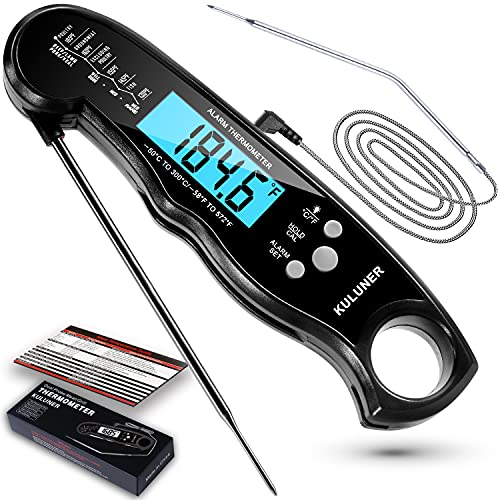 [KULUNER 2021 Upgrade] TP-05 2 in 1 Cooking Digital Meat Thermometer, Instant Reading Food Thermometer with Backlight Alarm Function Best for Outdoor BBQ, Steak and Roast Turkey (Black)