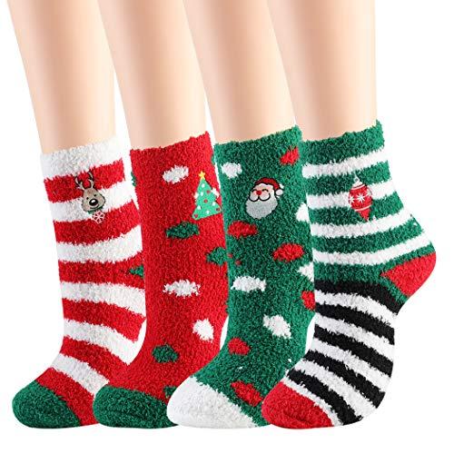 JUSTDOLIFE Weihnachten Socken, 4 Paar Weihnachtssocken Mix Design Socken Frauen Mädchen Weihnachten Festlicher Spaß Neuheit Socken Weihnachtssocken Weihnachten für den Winter