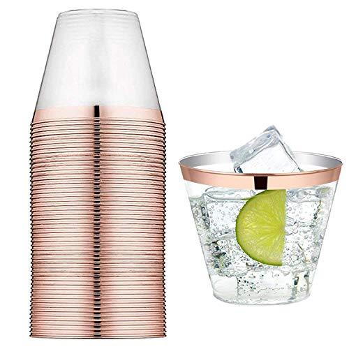 Simon Lee Woodham 20 Pezzi Bicchiere di Plastica Oro Trasparente, Bicchieri di Plastica da 9 Once / 250 Ml, per Matrimonio, Campeggio, Spiaggia e Picnic (Oro Rosa)