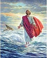 DMFNGJSD 数字油絵 フレーム付き 、数字キット塗り絵 手塗り DIY絵-宗教的なイエス-デジタル油絵 40x50 cm