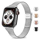 Amzpas Compatible avec Apple Watch Bracelet 44mm 42mm 40mm 38mm, Mince Bracelets de Rechange Smartwatch compatibles avec iWatch Series 5/4/3/2/1 (03 Argent, 38mm/40mm)