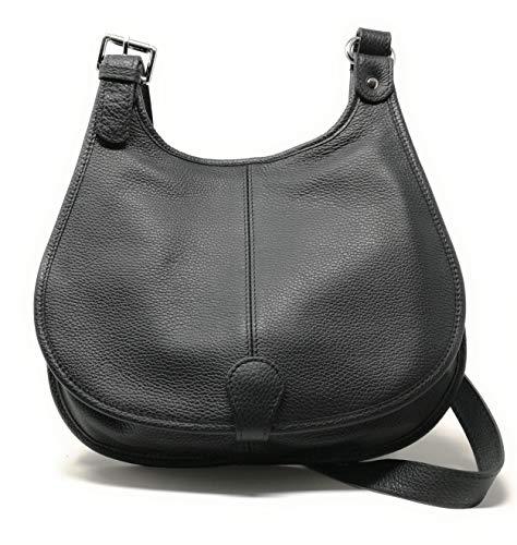 OH MY BAG Sac bandoulière Cuir bandoulière porté de travers femmes en véritable cuir fabriqué en Italie - modèle PETRA Noir