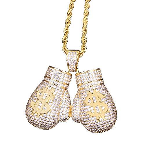 Moca Schmuck Iced Out Boxhandschuh Anhänger Halskette 18 Karat Vergoldet Bling CZ Simulierte Diamant Hip Hop Rapper Kette Halskette Für Männer Frauen (gold)