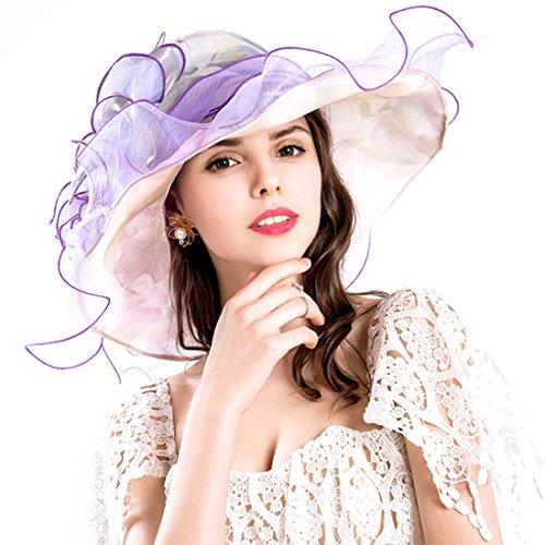 EXCHIC Damen Elegante Blumen Sommer Hut Breite Krempe Sonnenhüte (Violett)