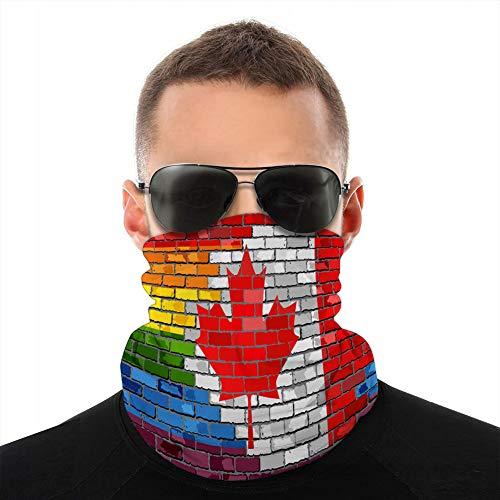 Unisex Fleece-Nackenschutz, Haarband, Ziegelwand, Kanada- und Gay-Flaggen