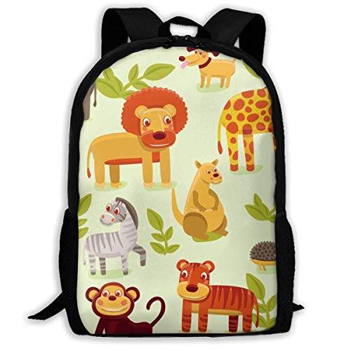 TRFashion Mochila Backpack For Girls Boys Animais Zoo Zipper School Bookbag Daypack Travel Rucksack Gym Bag For Man Women