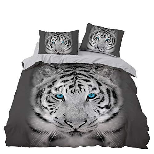 Newat Bettwäsche-Set mit Tiger-Motiv, 3D-Feune-Motiv, pflegeleicht, für Kinder, Doppelbettgröße (135 x 200 cm)