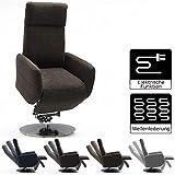 Cavadore TV-Sessel Cobra mit 2 E-Motoren und Aufstehhilfe / Elektrisch verstellbarer Fernsehsessel mit Fernbedienung / Relaxfunktion, Liegefunktion / bis 130 kg / L: 71 x 112 x 82 / braun