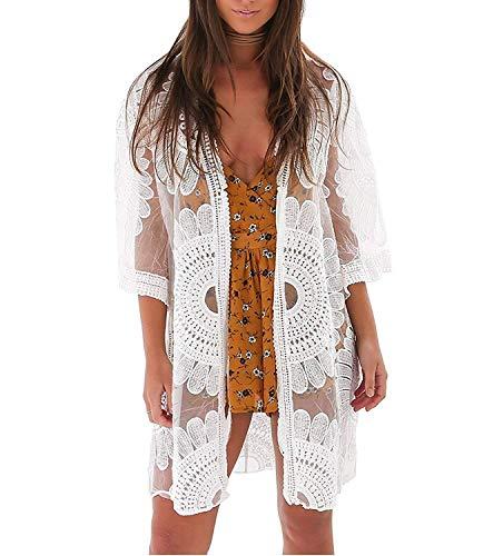 Eghunooye Damen Crochet Kimono Cardigan Bikini Cover Up, Vorzüglich Spitzen Strandpocho Kaftan Strandkleid,Boho Beachwear Kleid für Urlaub Strand (Weiß, Einheitsgröße)