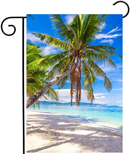 ShineSnow Tropical Beach Ocean Sea Palm Tree Summer Blue Landscape Garden Yard Flag 12'x 18' Double Sided Polyester Welcome House Flag Banners for Patio Lawn Outdoor Home Decor