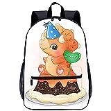 WBLWBL Mochila ligera Lindo dinosaurio sentado en la mochila de pastel 31 * 14 * 45 cm Bolsa resistente al agua Se adapta a hombres mujeres niños unisex