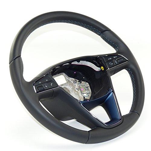Seat piel Volante Volante Piel para pantalla multifunción, piel negro con costuras azules.