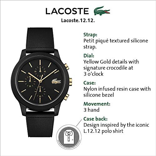 Lacoste Men's TR90 Quartz Watch with Rubber Strap, Black, 21 (Model: 2011012) WeeklyReviewer
