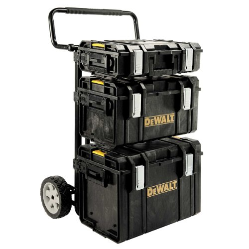 DeWalt ToughSystem/ Transportsystem (inkl. ToughBoxen und einem Trolley, 4-in-1 Komplett-Set, Boxenwände 4 mm dick, IP65- staubdicht und spritzwassergeschützt, mit Druckausgleichknopf) 1-70-349