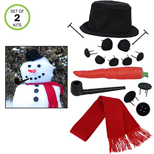 Evelots Perfect Snowman Decorating Kit-16 Pieces-Family Fun-Sturdy Prongs-Set/2