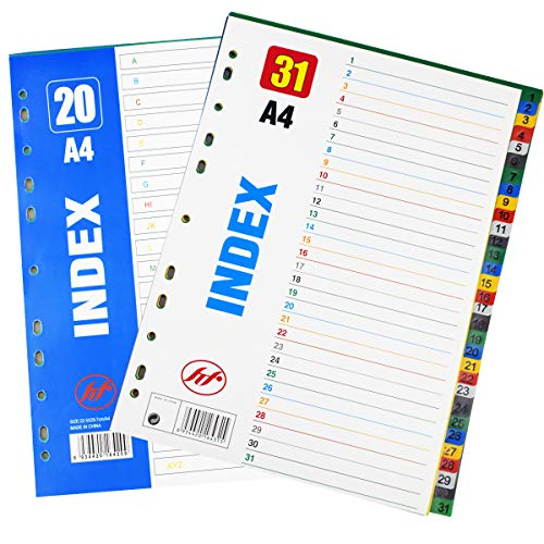 INTVN Intercalaires en Plastique A4 Onglets 1-20 & Onglets 1-31 Pour classeur A4 Maxi format ou classeur à levier, Multicolore